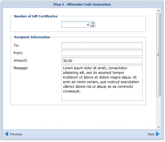 Gift Certificate Module Step 2 Image