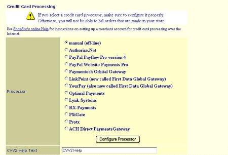 ShopSite Credit Card Processor